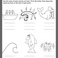 Printable Ocean Ending Consonants Review - Printable Kindergarten Worksheets and Lessons - Free Printable Worksheets