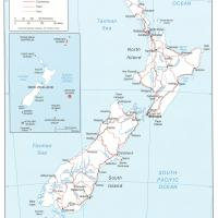Oceania- New Zealand Political Map