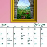 Printable October 2009 Oil Painting Calendar - Printable Monthly Calendars - Free Printable Calendars