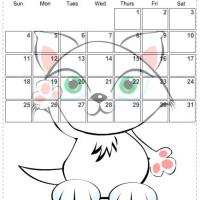 Printable October 2009 White Cat Calendar - Printable Monthly Calendars - Free Printable Calendars