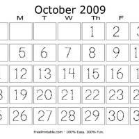 Printable October 2009 Writing Calendar - Printable Calendar Pages - Free Printable Calendars