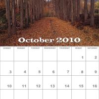 Printable October 2010 Nature Calendar - Printable Monthly Calendars - Free Printable Calendars