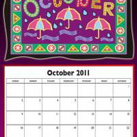 Printable October 2011 Colorful Designed Calendar - Printable Monthly Calendars - Free Printable Calendars