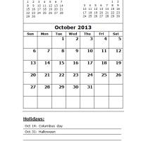 Printable October 2013 Calendar with Holidays - Printable Monthly Calendars - Free Printable Calendars