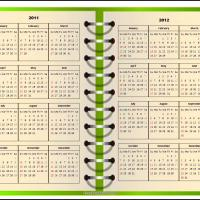 Printable Open Green Notebook Calendar - Printable Yearly Calendar - Free Printable Calendars