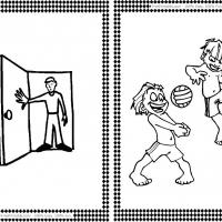 Opening Door and Playing Volleyball Flash Cards