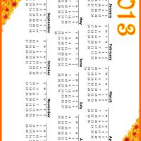 Printable Orange Flowers 2013 Calendar - Printable Yearly Calendar - Free Printable Calendars