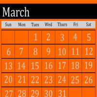 Orange March 2011 Calendar