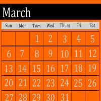 Orange March 2011 Calendar
