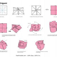 Printable Origami- Rose - Paper Crafts - Free Printable Crafts