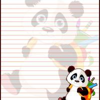 Printable Panda Goes to School - Printable Stationary - Free Printable Activities