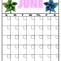 Printable Paper Spinners For June Blank Calendar - Printable Blank Calendars - Free Printable Calendars