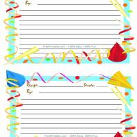 Printable Party Hats Recipe Card - Printable Stationary - Free Printable Activities