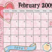 Pastel Colored February 2009 Calendar