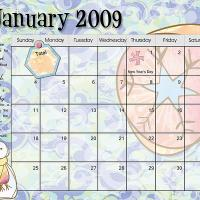 Pastel Colored January 2009 Calendar