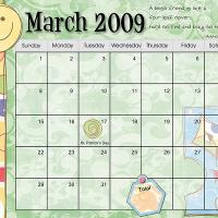 Pastel Colored March 2009 Calendar