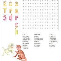Printable Pet Word Search - Printable Word Search - Free Printable Games