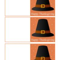 Printable Pilgrim Hat Thanksgiving Mini Cards - Printable Greeting Cards - Free Printable Cards