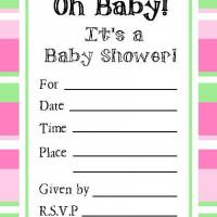 Pink and Green Bordered Baby Shower Invitation