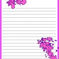 Printable Pink and Violet Floral Stationary - Printable Stationary - Free Printable Activities