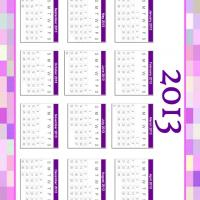 Printable Pink and Violet Mosaic Bordered 2013 Calendar - Printable Yearly Calendar - Free Printable Calendars