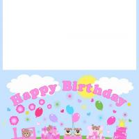 Pink Birthday Train Card