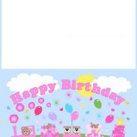 Printable Pink Birthday Train - Printable Birthday Cards - Free Printable Cards