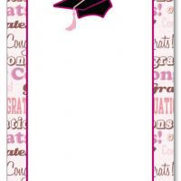 Pink Border with Graduation Cap Blank Card Invitation