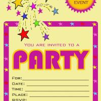 Pink Bordered Star Party Invitation