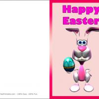 Printable Pink Bunny Holding Easter Egg - Printable Easter Cards - Free Printable Cards