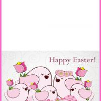 Printable Pink Easter Chicken Card - Printable Easter Cards - Free Printable Cards