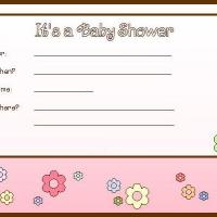 Printable Pink flower Baby Shower Invitation - Baby Shower and Christening Invitations Cards - Free Printable Invitations