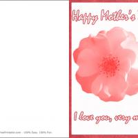 Printable Pink Flower I Love You - Printable Mothers Day Cards - Free Printable Cards
