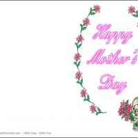 Printable Pink Flowers With Green Background Card - Printable Mothers Day Cards - Free Printable Cards