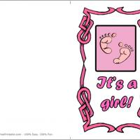 Printable Pink Footprint - Printable Baby Cards - Free Printable Cards