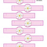 Printable PInk Gingham Cloth Napkin Ring - Printable Party Supplies - Misc Printables