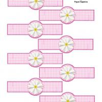 Printable Pink Gingham Paper Napkin Ring - Printable Party Supplies - Misc Printables