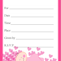 Pink Hearts Baby Shower Invitation