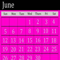 Pink June 2011 Calendar