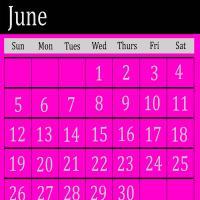 Pink June 2011 Calendar