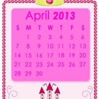 Printable Pink Princess April 2013 Calendar - Printable Monthly Calendars - Free Printable Calendars