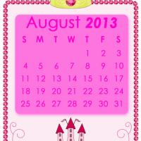 Printable Pink Princess August 2013 Calendar - Printable Monthly Calendars - Free Printable Calendars