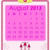 Pink Princess August 2013 Calendar