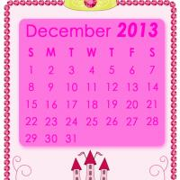 Printable Pink Princess December 2013 Calendar - Printable Monthly Calendars - Free Printable Calendars