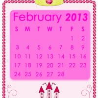 Printable Pink Princess February 2013 Calendar - Printable Monthly Calendars - Free Printable Calendars
