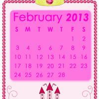 Pink Princess February 2013 Calendar