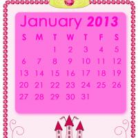 Printable Pink Princess January 2013 Calendar - Printable Monthly Calendars - Free Printable Calendars