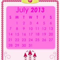 Printable Pink Princess July 2013 Calendar - Printable Monthly Calendars - Free Printable Calendars