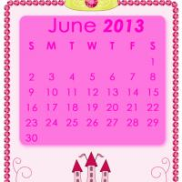 Printable Pink Princess June 2013 Calendar - Printable Monthly Calendars - Free Printable Calendars