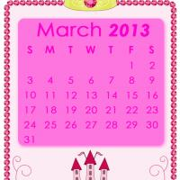 Printable Pink Princess March 2013 Calendar - Printable Monthly Calendars - Free Printable Calendars